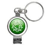 Green recycle symbol Nail Clippers Key Chain