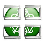 Green recycle symbol 9mm Italian Charm (4 pack)