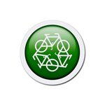 Green recycle symbol Rubber Coaster (Round)