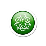Green recycle symbol Magnet 3  (Round)