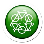 Green recycle symbol Magnet 5  (Round)
