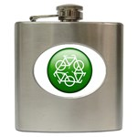 Green recycle symbol Hip Flask (6 oz)