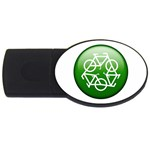 Green recycle symbol USB Flash Drive Oval (2 GB)