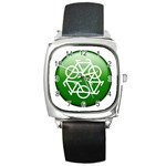 Green recycle symbol Square Metal Watch