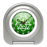 Green recycle symbol Travel Alarm Clock