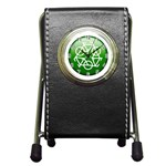 Green recycle symbol Pen Holder Desk Clock