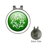 Green recycle symbol Golf Ball Marker Hat Clip