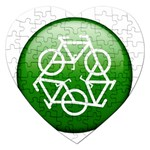 Green recycle symbol Jigsaw Puzzle (Heart)