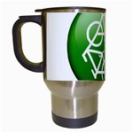 Green recycle symbol Travel Mug (White)