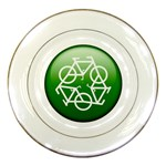 Green recycle symbol Porcelain Plate