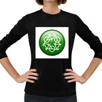 Green recycle symbol Women s Long Sleeve Dark T-Shirt