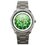 Green recycle symbol Sport Metal Watch