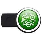Green recycle symbol USB Flash Drive Round (4 GB)