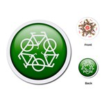 Green recycle symbol Playing Cards (Round)