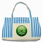 Green recycle symbol Striped Blue Tote Bag