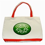 Green recycle symbol Classic Tote Bag (Red)