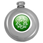 Green recycle symbol Hip Flask (5 oz)