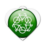 Green recycle symbol Dog Tag Heart (One Side)