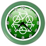 Green recycle symbol Color Wall Clock