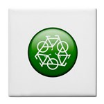 Green recycle symbol Face Towel