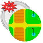Golf Course 3  Button (10 pack)