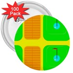 Golf Course 3  Button (100 pack)