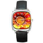 Annual Zinnia Flower   Square Metal Watch