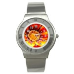 Annual Zinnia Flower   Stainless Steel Watch