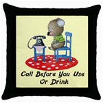 Call First Throw Pillow Case (Black)