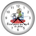 Call First Wall Clock (Silver)