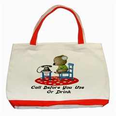 Call First Classic Tote Bag (Red) from ArtsNow.com Front