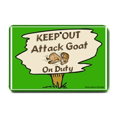 Keep Out Attack Goat on Duty Small Doormat from ArtsNow.com 24 x16  Door Mat
