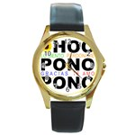 hooponopono3 Round Gold Metal Watch