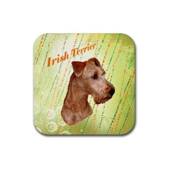 Irish Terrier Rubber Square Coaster (4 pack) from ArtsNow.com Front