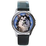 Alaskan Malamute Dog Round Metal Watch