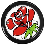 Artistic Red Rose Wall Clock (Black)