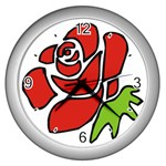 Artistic Red Rose Wall Clock (Silver)