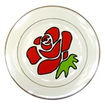 Artistic Red Rose Porcelain Plate