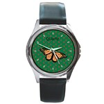 flowers-leaves039a Round Metal Watch
