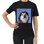 Alaskan Malamute Women s Black T-Shirt (Two Sides)