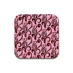 Pink Curl Custom Rubber Square Coaster (4 pack)