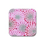 Pink Fireworks Custom Rubber Square Coaster (4 pack)