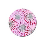 Pink Fireworks Custom Rubber Round Coaster (4 pack)
