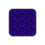 Purple Floral Custom Rubber Square Coaster (4 pack)