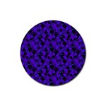 Purple Floral Custom Rubber Round Coaster (4 pack)