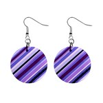 Purple Candy Cane Custom 1  Button Earrings