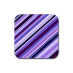 Purple Candy Cane Custom Rubber Square Coaster (4 pack)