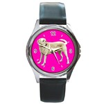 BP Yellow Labrador Retriever Dog Gifts Round Metal Watch