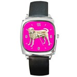 BP Yellow Labrador Retriever Dog Gifts Square Metal Watch
