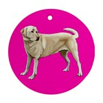 BP Yellow Labrador Retriever Dog Gifts Round Ornament (Two Sides)